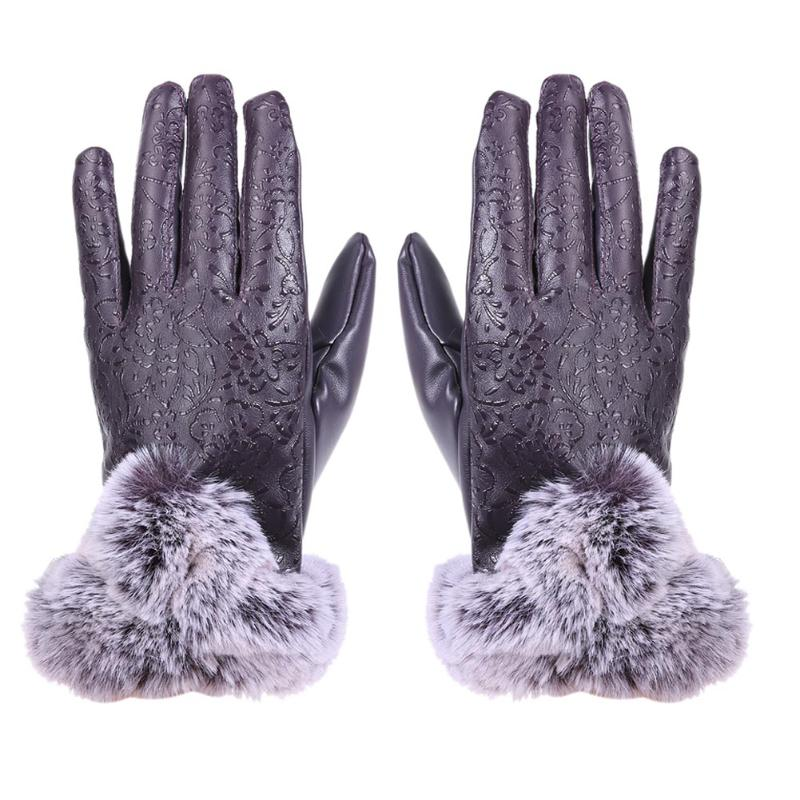 2017 Hot Sale Floral Autumn Winter Women Mittens PU Warm Full Finger Wrist Gloves Fashion Touch Screen Fleece Outdoor Gloves