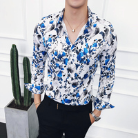 TOTURN Autumn New Men Vintage Floral Shirt Long Sleeve Man Flower Dress Shirts Casual Social Formal Male Shirt Camisa Masculina