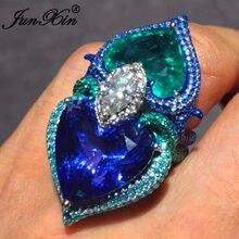 Junxin feminino azul verde cristal grande coração anéis para mulher ouro branco preenchido marquise corte branco cz pedra anel de casamento jóias