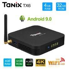 Tanix TX6 Smart TV Box android 9.0 Allwinner H6 4GB 32GB 64GB Support 2.4G/5GHz WiFi BT4.1 4K H.265 Bluetooth 4.0 Set Top Box