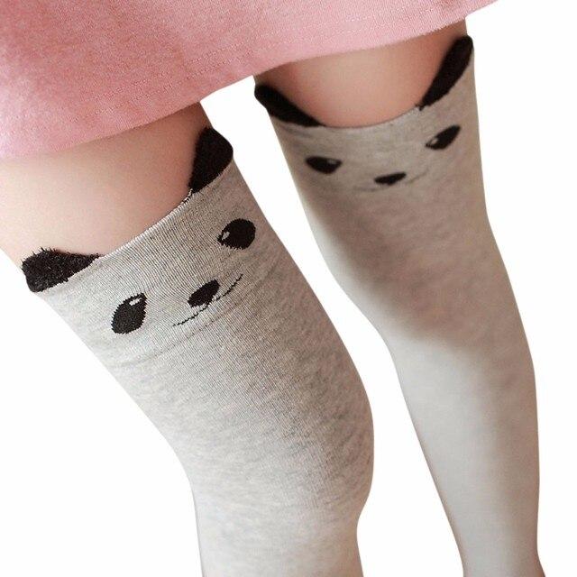 #5 DROPSHIP 2018 NOVA Moda Feminina Inverno Gato de Urso Panda De Malha Sobre O Joelho Longo de Inicialização Coxa-Alta Quente meias Freeship