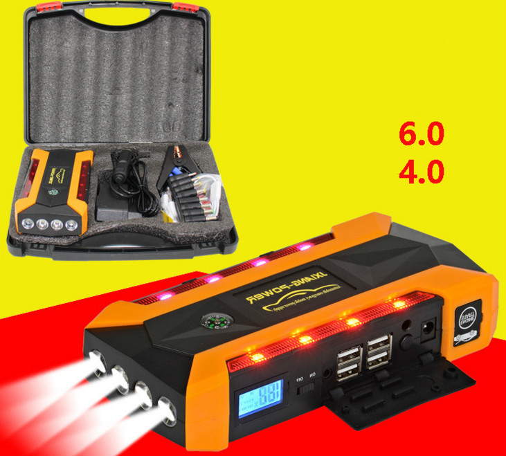 Super Powerful Multi-Function 69900mah Car Jump Starter 12V Starting Device Mobile 4USB Power Bank Compass SOS Lights Free Ship 13500mah 12v multi function mobile power bank tablets notebook phone ca r auto eps starter emergency start power