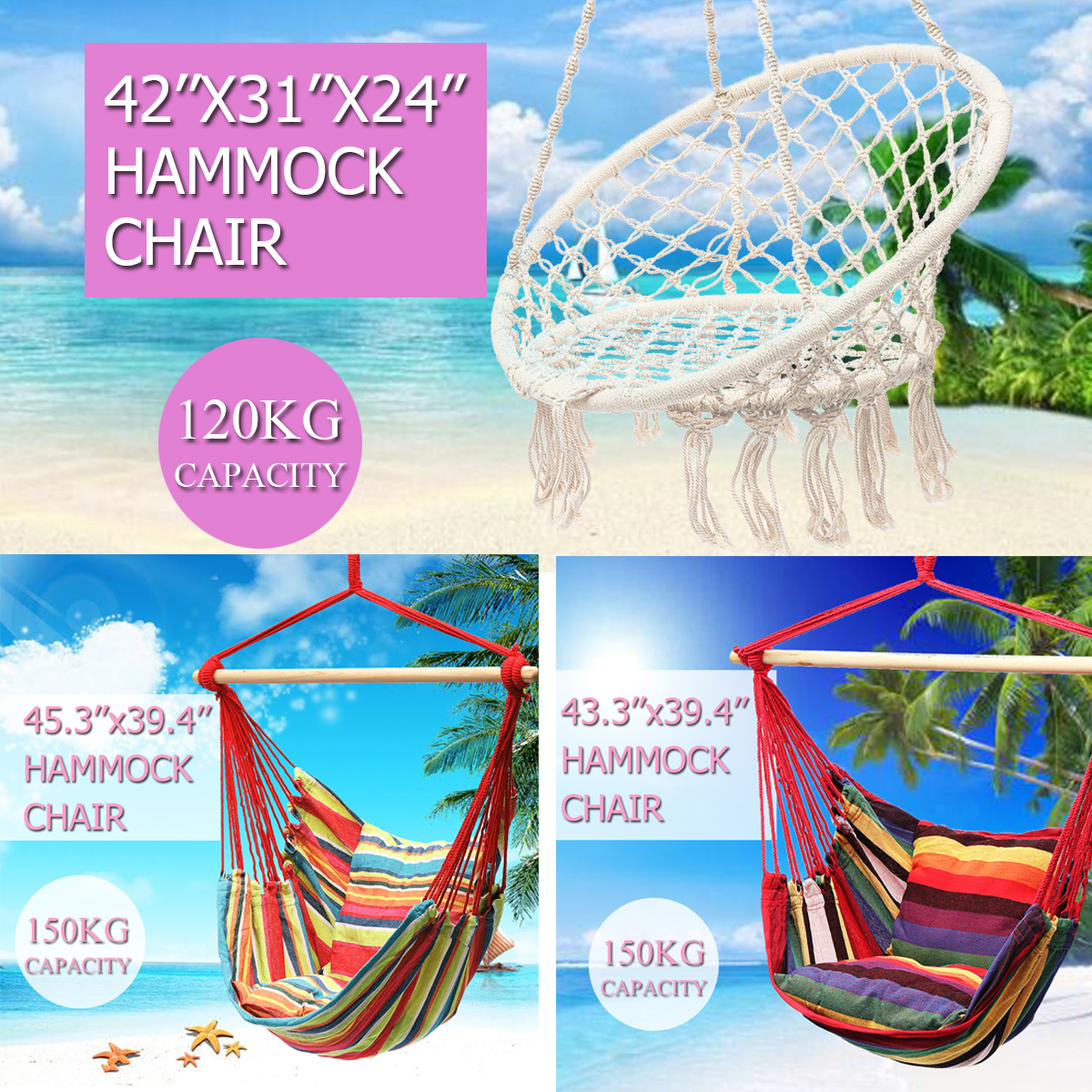 120/150KG Capacity Hanging Hammock Chair Tassel Colorful Fabric Rope Swinging Chair Outdoor Indoor Camping Cottage Garden жирное масло 100