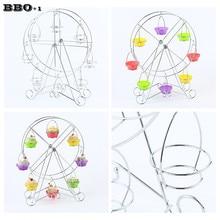 New 1 Pcs Rotary 8 Cup Ferris Wheel Cake Food Display Stand Carbon Steel Wedding Cake Party Food Rack Hotel KTV Utensils