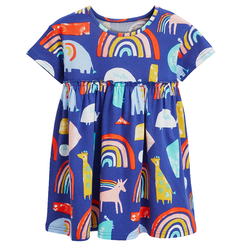 2019 Summer season Rainbow Print Women Gown Model Brief Sleeve Cotton Youngsters Garments Unicorn Youngsters Attire Child Lady Clothes New