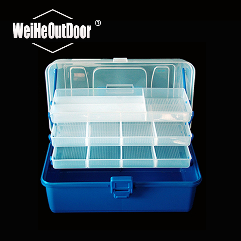 1Pc Double Layer Fishing Tackle Box PP Material Blue and White Fishing <font><b>Lure</b></font> Box 29.4cm*18.7cm*15cm Plastic Storage Box Pesca