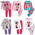 WANGSAURA Cartoon Sweet Minnie Mouse Dot Striped Baby Kids Girls Love Long Sleeve Suit Clothes set