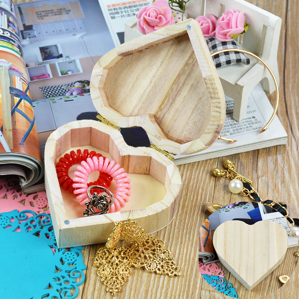 Wooden Crafts Toys Wood Jewelry Box Love Heart Shape DIY Mud Base