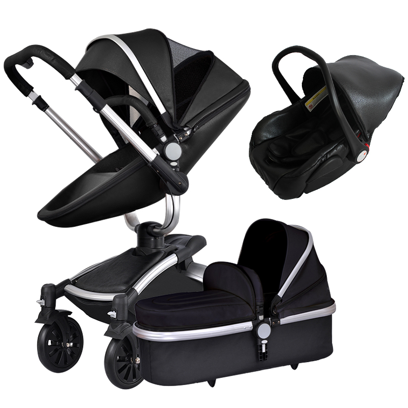 high quality leather made baby strollers 3 in 1 baby pram foldable baby car baby carriage 0-36 months use  12 colors  free 3 in 1 baby strollers light baby car sleeping basket newborn baby carriage 0 36 months europe baby pram carriage five color