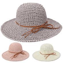 Fashion Summer Round Straw Rattan Sun Hat for Women Summer Beach Outdoor Bow Floppy Hat Folding Wide Brim Dome Sun Cap outdoor rattan curved sun loungers set outdoor furniture