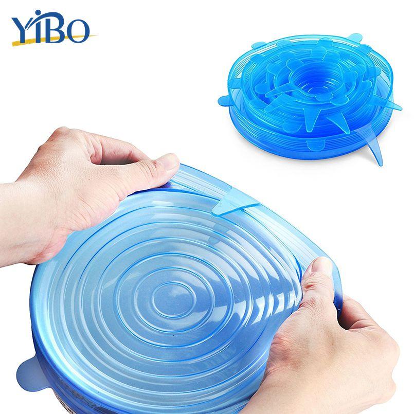 YIBO 6 pcs/ensemble de Qualité Alimentaire Silicone Alimentaire Couverture De Silicium Stretch Couvercles Bol Pot Récipient Resuable Saran Wrap Scellant Cuisine Outils