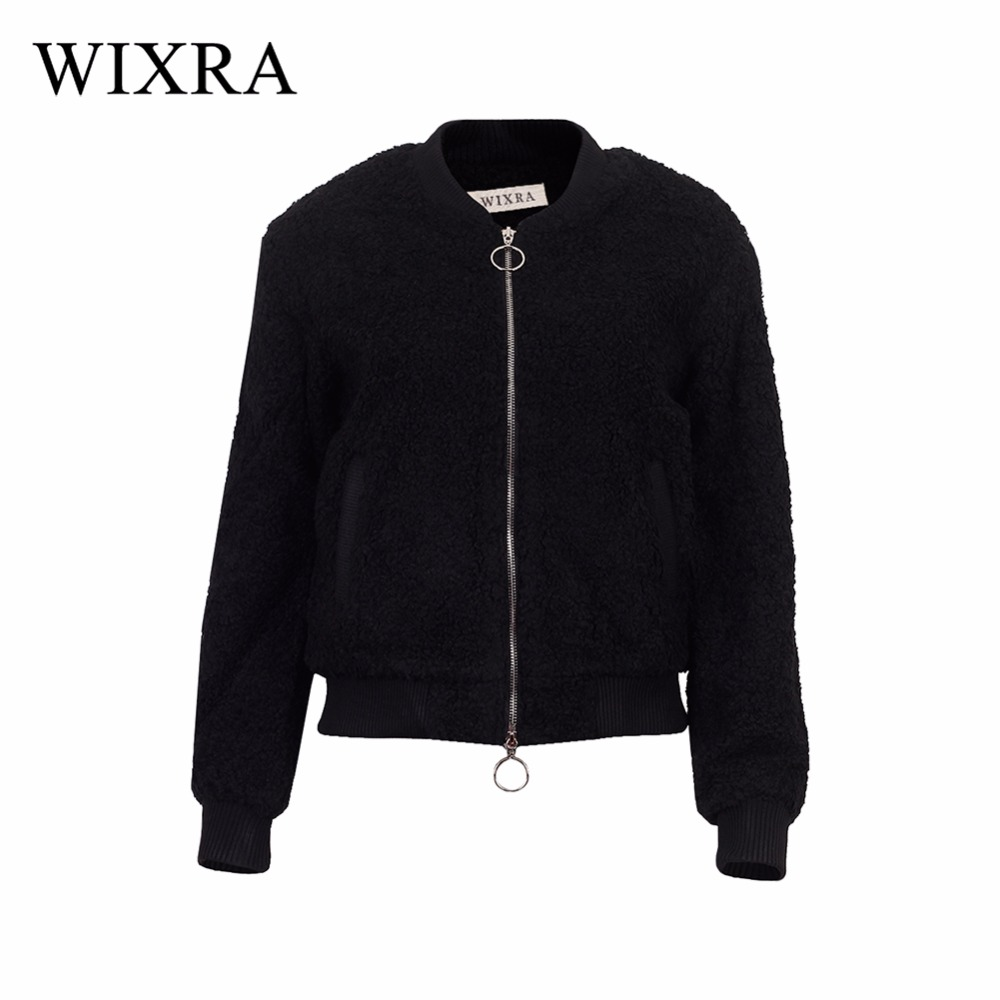 Wixra   Basic     Jackets   Women's Spring Winter   Jacket   Clothing Coat Lamb Wool Suede Short Thick Long-sleeved Zipper Women   Jacket   Coat