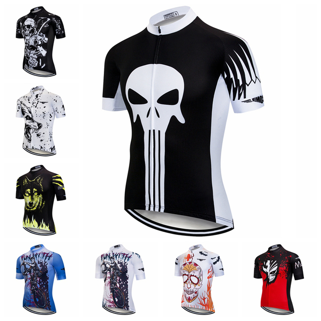 38fcd7d25 Cycling Jersey 2018 Men Racing Clothing Sport Wear Bike Shirt Tops Short  Sleeve Youth Maillot Ropa Ciclismo Skull Wolf Punisher