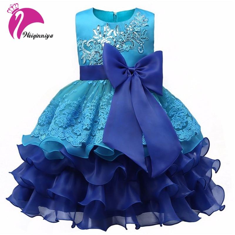 Baby Girls Party Dress New 2017 European Style Summer Bow Flowers Sequins Ball Gown Dresses Fashion Children Girls Vestidos Hot