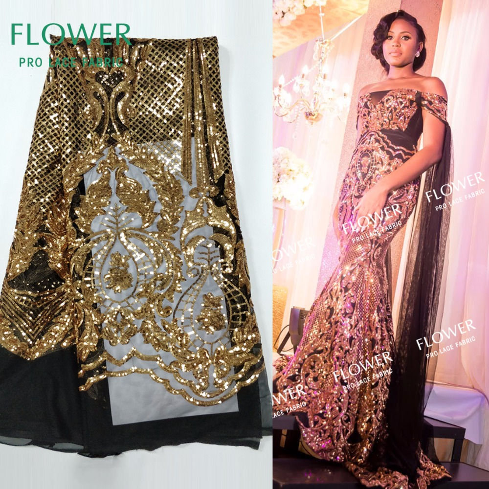 Us 5341 51 Off2018 High Quality Gold Sequins Net Lace Fabric Sequined Embroidered African Nigerian Women Wedding Dress Design Mesh Material In