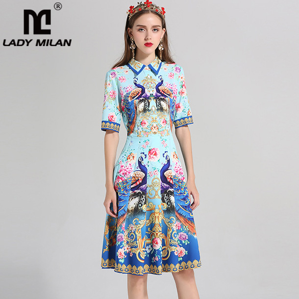 New Arrival 2018 Womens Turn Down Collar Short Sleeves Animals Printed High Street Casual Fashion Designer Runway Dresses