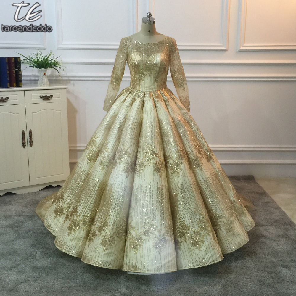 Bling Bling Material Royal Bride Wedding Dress Long Sleeves Celebrities Gold Luxury Sequins Ball Gown Bridal Gown With Video
