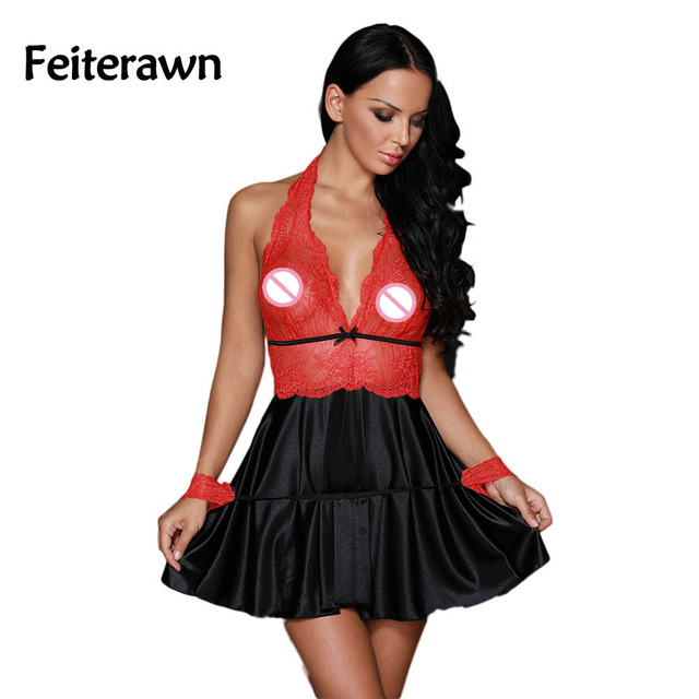 Chemise Red Sheer Lace Bodice 3pcs Satin Flare Babydoll DL31052
