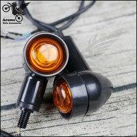 retro moto LED amber unviersal black motorbike turn signal light for honda suzuki harley vintage motorcycle indicator flashers