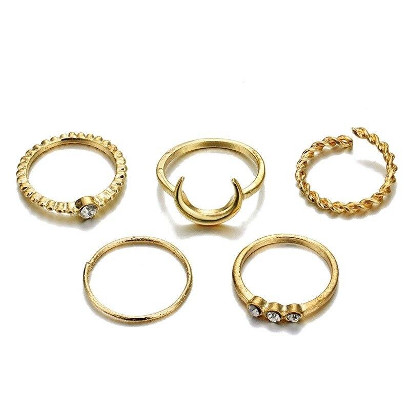 edd25d1dab15 FAMSHIN moda oro Color Luna cristal nudillo anillo conjunto Boho Punk  joyería para mujeres Midi dedo