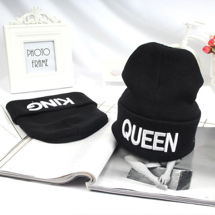 KING QUEEN Winter Warm   Skullies     Beanies   Knit Hat   Skullies   Bonnet Hip Hop Hats For Men Women   Beanie   Ski Sports Cap Couple LA Caps