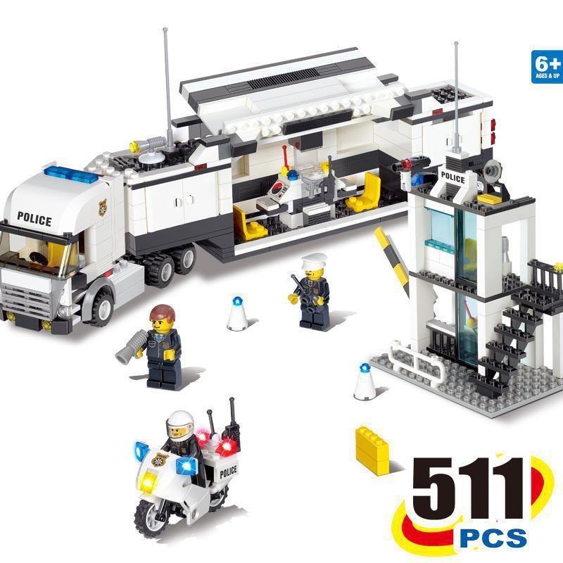 BOHS City Polizeistation Küsten Schutz SWAT Lkw Motorrad Bausteine Spielzeug (Kein kleinkasten), Kompatibel mit Lego