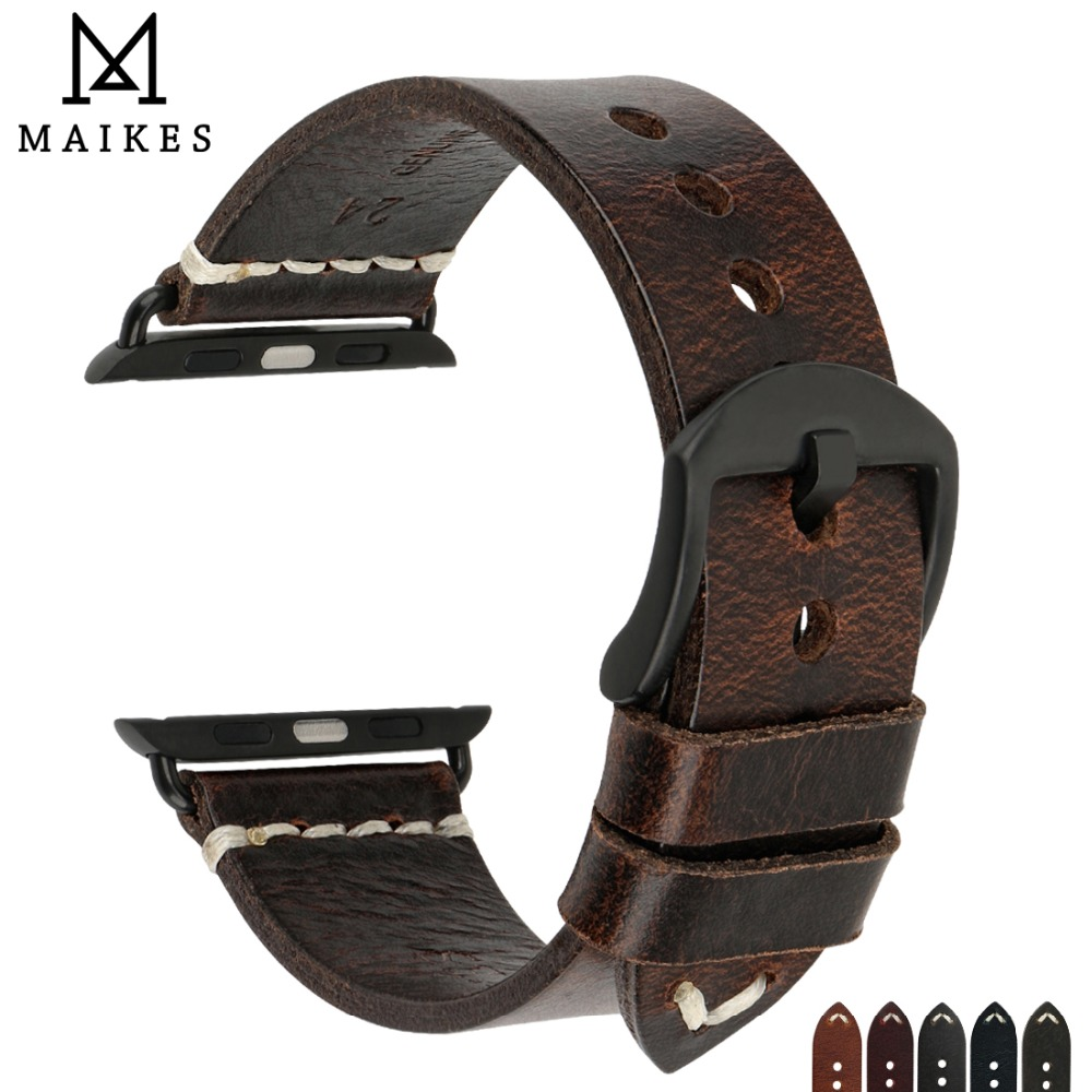 MAIKES Watch Accessories Genuine Cow Leather For Apple Watch Bands 44mm 42mm & Iwatch Strap 40mm 38mm Series 4 3 2 1 Bracelets