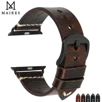 MAIKES Watch Accessories Genuine Cow Leather For Apple Watch Bands 44mm 42mm & iwatch Strap 40mm 38mm Series 4 3 2 1 Bracelets - DISCOUNT ITEM  30% OFF All Category
