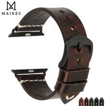 MAIKES accesorios para reloj, correas de cuero de vaca auténtico para Apple Watch de 44mm y 42mm y correa de iwatch de 40mm y 38mm Series 4 3 2 1