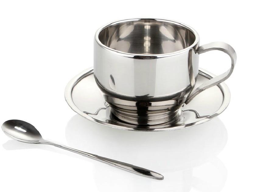 nerezové dvouvrstvé izolované hrnky s šíleným talířem se sadou lžiček kávy