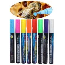 1-2 pces led highlighter marca caneta rainha abelha marcador caneta 135mm * 4mm 8 cores opcionais bisel ferramentas de apicultura