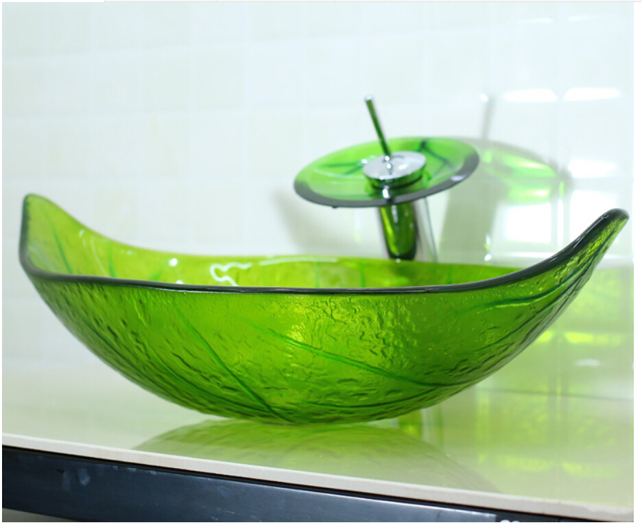 Green Leaf Shaped Glass Handcraft Bathroom Vanity Wash Basin Tempered Glass  Counter Top Vessel Sink JN4275 In Bathroom Sinks From Home Improvement On  ...