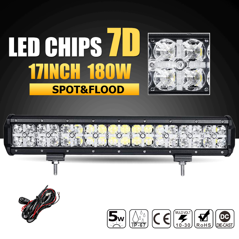Oslamp 7D 180W 17 LED Offroad Light Bar Combo Beam Led Work Light Bar Driving Lamp Boat Truck SUV ATV 4x4 4WD 12v 24v Led Bar 14 120w offroad led light bar atv yacht boat truck trailer tractor car suv 4wd 4x4 camping work lamp 12v 24v auto headlight