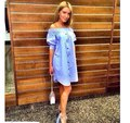 2016 European Fashion Summer Flat Shoulder Casual Dress Loose Solid Button Puff Sleeve Slash Neck Sexy Plus Size Women Clothing