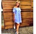 2016 Verão Europeu Moda Plana Botão de Ombro Casual Vestido Solto Sólida Puff Luva de Slash Neck Sexy Plus Size Roupas Femininas