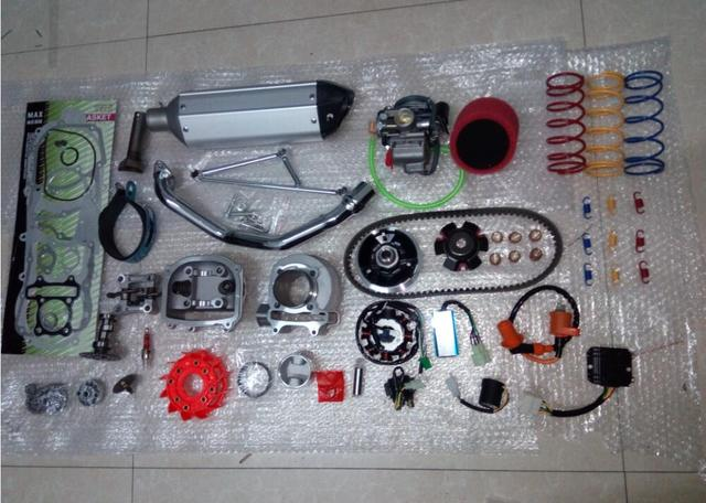 57.4mm Chinese Scooter 150 cc 157QMJ GY6 A9 Cam, Racing CDI & Coil Exhaust as shown in figure