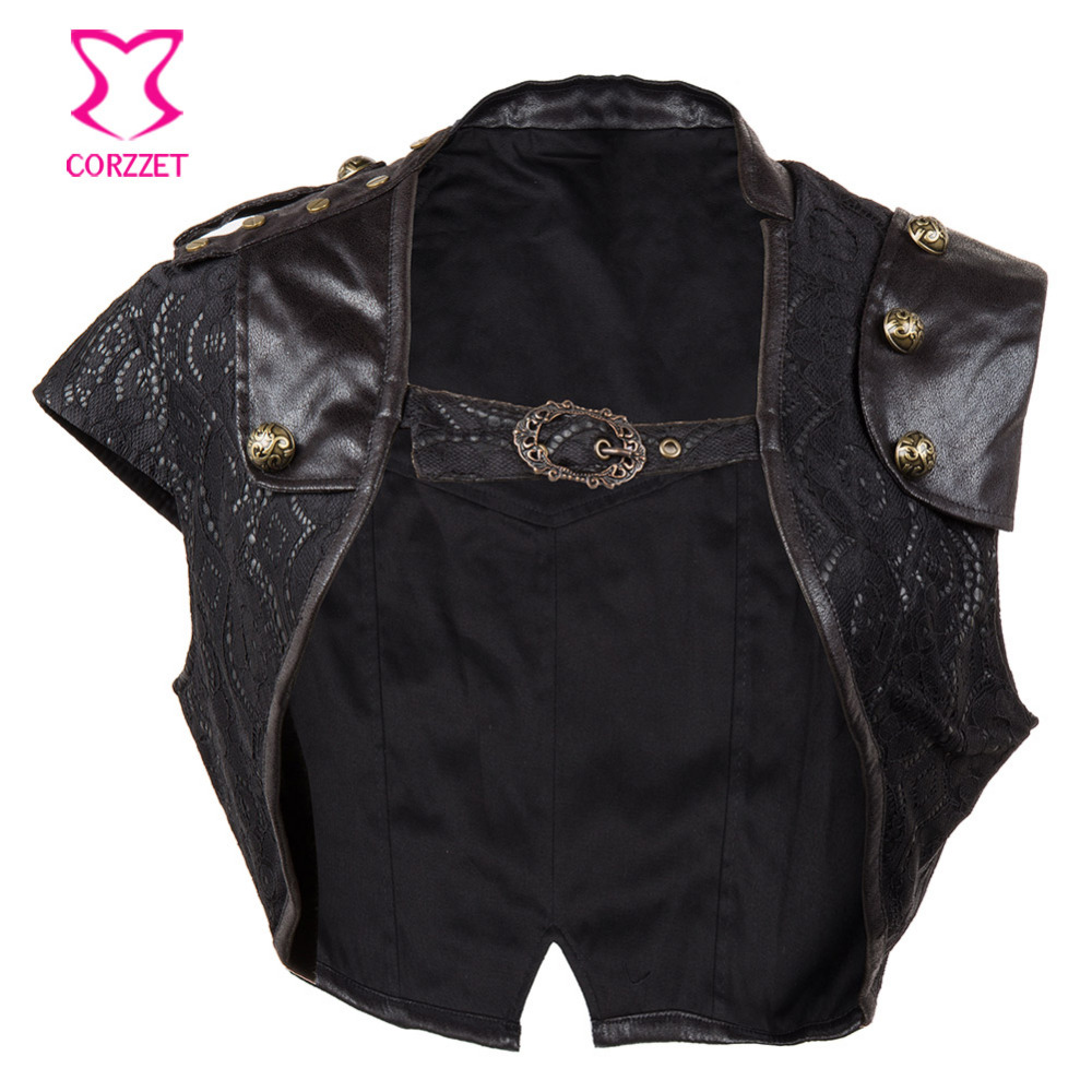 Black Floral Lace&PU Leather Button Rivet Ultra Short Retro Rock Sexy Bolero Gothic Clothing Women Steampunk Coat Vintage Jacket