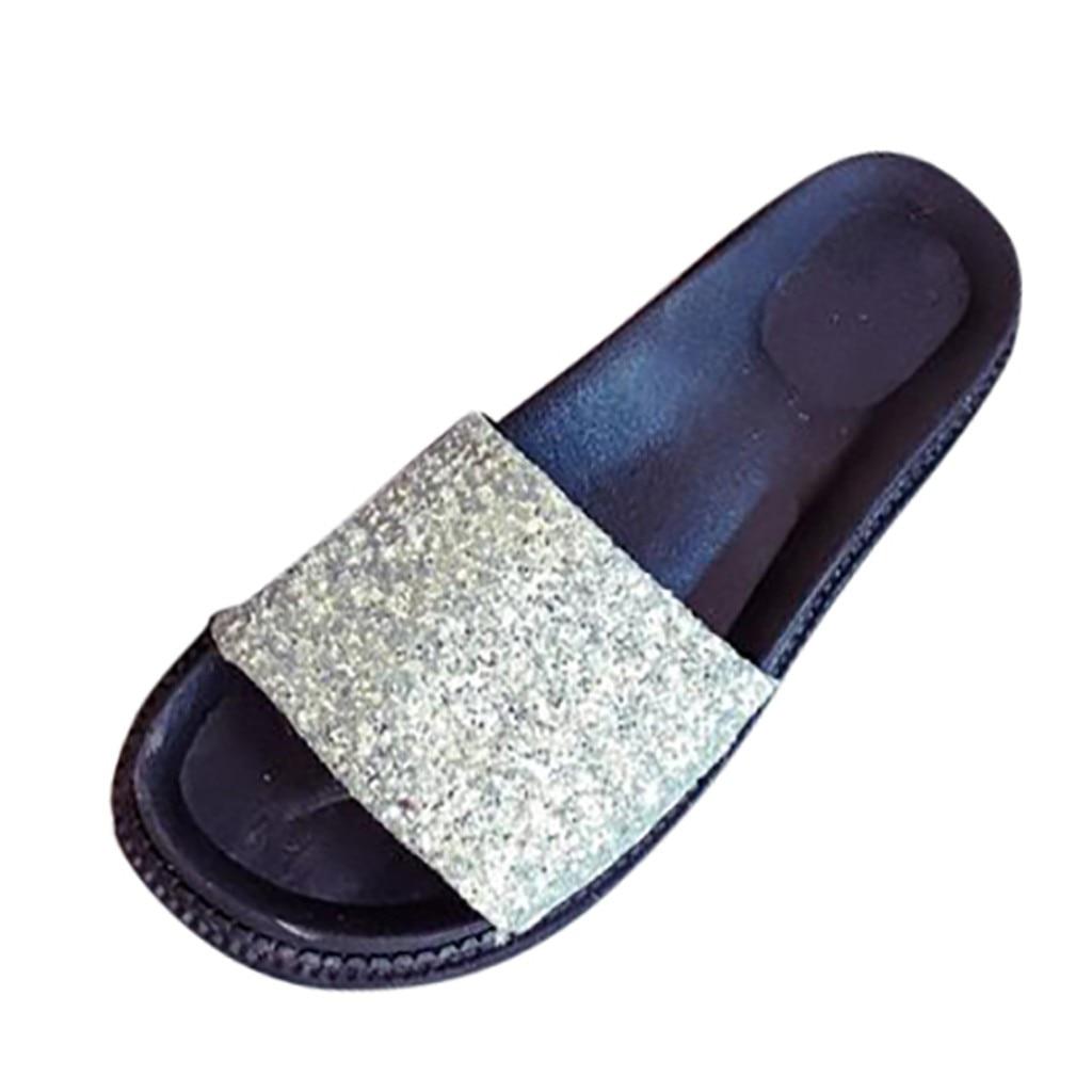 Womens Platform Wedge Sandal Slipper Flip Flop Peep Toe Sequin Party Shoes Size