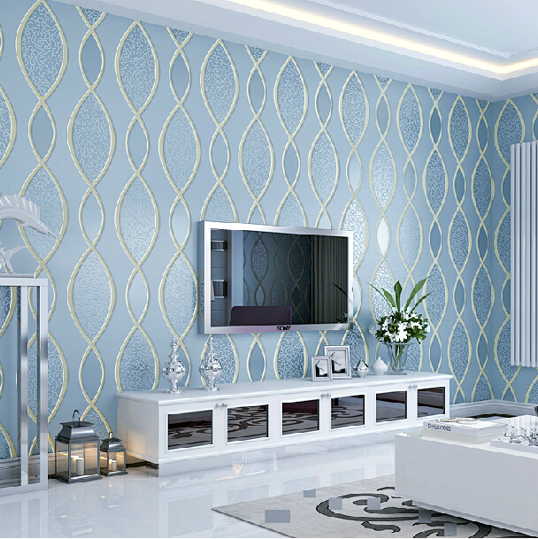 Modern Thickened Stereo 3D Wallpaper Relief Striped Blue Background Wallpaper Living Room ...