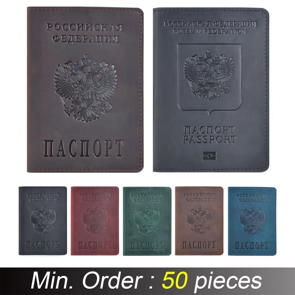 50 pieces / lot 10x14 cm Genuine Leather Passport Cover For Russian Federation Crazy Horse Leather Bilingual Passport Case