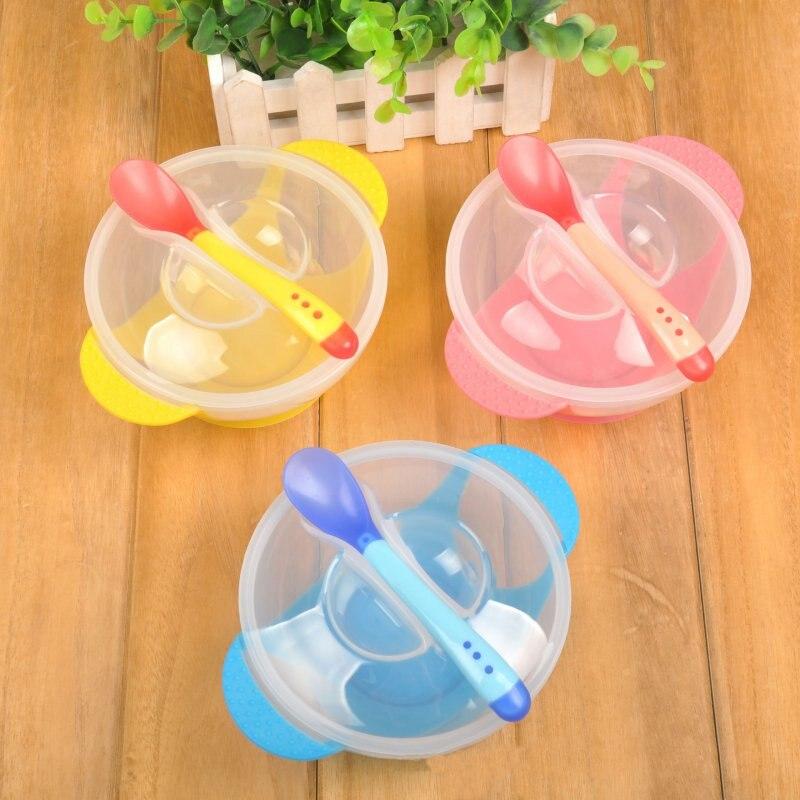 Toddler Baby Kids Child Feeding Lid Training Bowl with Spoon Binaural Feeding Tableware Plate Sucker Bowl