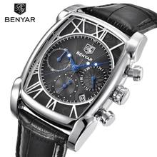 Relogio Masculino BENYAR Marque Mode Sport Chronographe Hommes Montres 30 M Étanche Véritable Bracelet En Cuir De Luxe de Quartz Montre