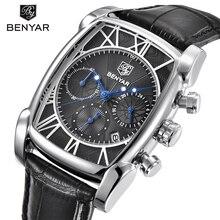 Relogio Masculino BENYAR Brand Fashion Sport Chronograph Men's Watches 30M Waterproof Genuine Leather Strap Luxury Quartz Watch