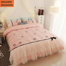 Korean Style 100% Cotton Princess Luxury Bedding Set Kids Girls Sets Green Pink Beautiful Lace Home Decor