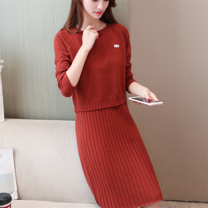2019 Female Two Suits 2 Sets Solid Pullovers And Skirts Knitted O-neck Full Sleeve Suit Spring And Autumn Office Lady