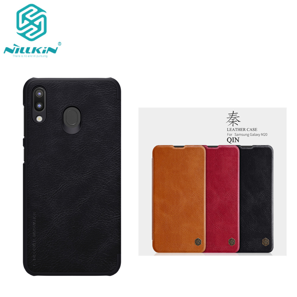 10pcs lot Wholesale NILLKIN Qin Series Wallet Flip Leather Case For Samsung Galaxy M20 Genuine Flip
