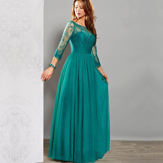 59cecfd5b805 Long Turquoise Evening Dress 2019 Lace Beads With 3 4 Sleeves Floor Length  Evening Gowns Simple Cheap Prom Dresses Abendkleider