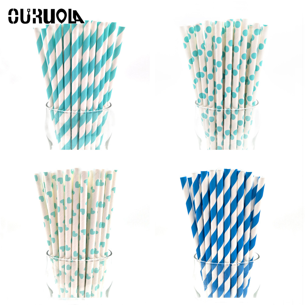 Us 1 22 21 Off 25pcs Drinking Paper Straws Gold Silver Chevron Straw Ladybug Pink Blue Baby Shower Decoration Gift Party For Birthday In Disposable
