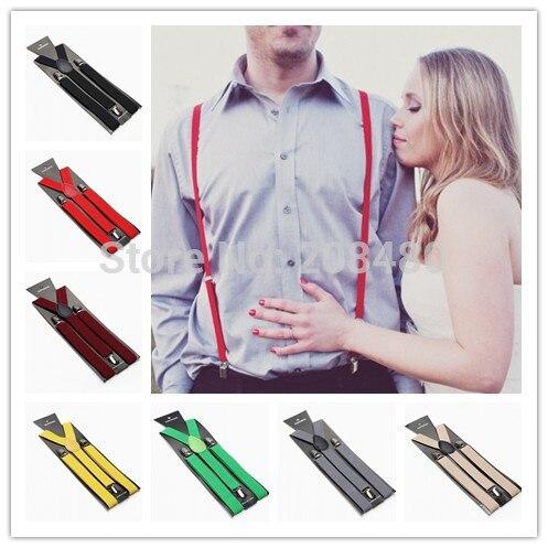 New 2pc/lot 1Inch Wide 36colors Men`s Unisex Clip-on Braces Elastic Slim Suspender Y-back Adjustable Suspenders/Belt Wholesale