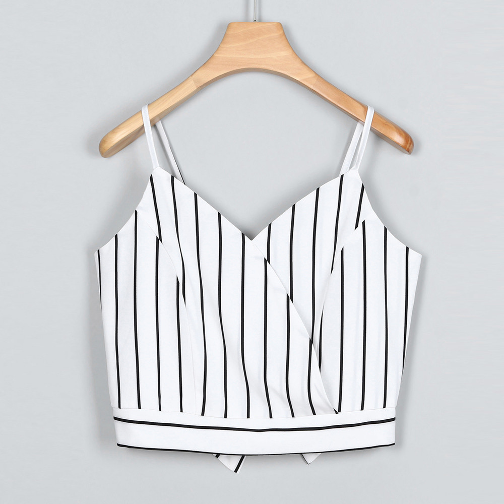 Womens Casual V Neck Stripe Seft Tie Back Crop Cami Tops Camisole Shirt Vest tank tops women sexy tank tops women summer